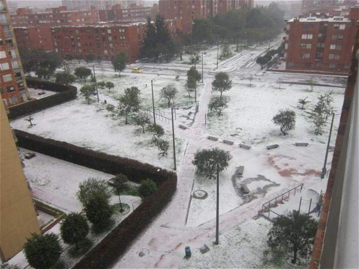 La fuerte granizada de este martes en Bogotá