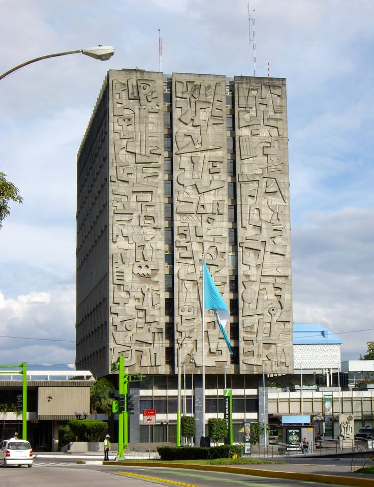 Monumental concrete relief mural by Roberto Gonzalez Goyri for the Bank of Guatemala, c. 1964