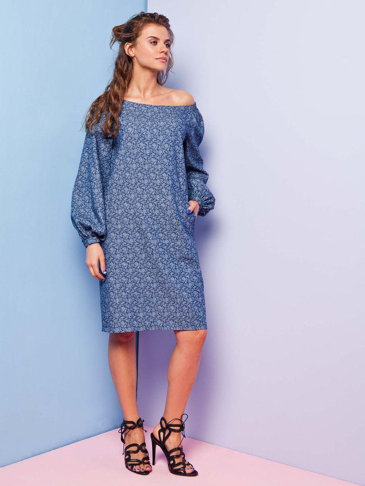 Sukienka z naturalnej tkaniny ornament, 149zł
