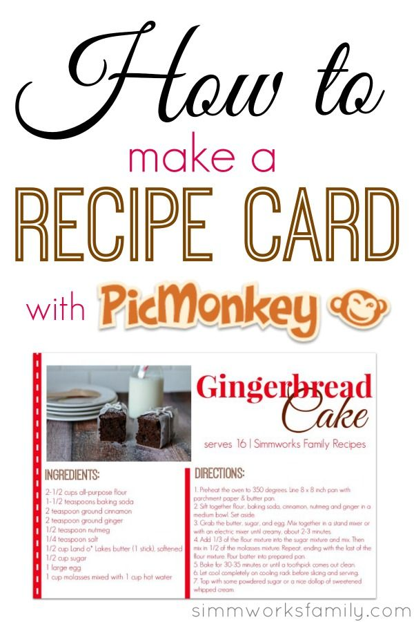 how to make a recipe card with picmonkey pinterest