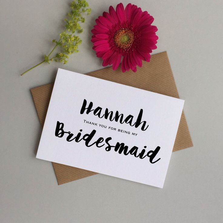 Personalised Bridesmaid card. Thank you Bridesmaid card. Card for Brideamaid, Maid of honour, flower girl. Bridesmaid thank you card by LoveinaEnvelope on Etsy https://www.etsy.com/listing/240974242/personalised-bridesmaid-card-thank-you