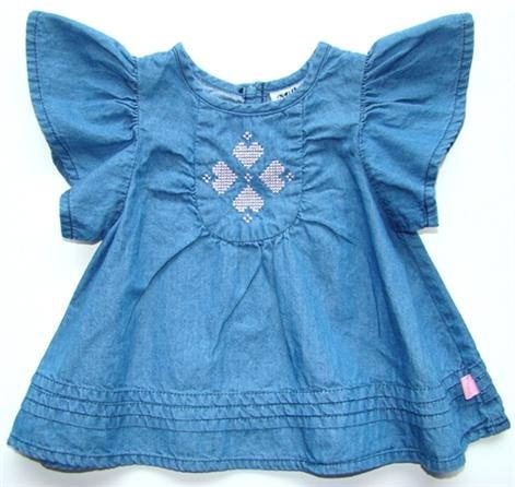 Milky Chambray Top, Girls Clothing Milky Chambray Top    Price: $32.95    Beautiful mid wash chambray top by Milky - guaranteed to be a hit this summer with gorgeous flutter sleeves and embroidered pink hearts