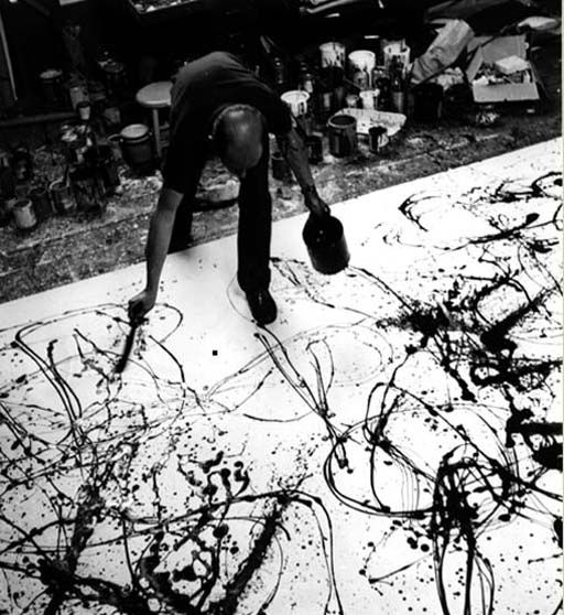Jackson Pollock in his studio. Jackson Pollock was a central figure in the band of New York painters who emerged in the years just after the Second World War - Willem de Kooning, Franz Klein and Conrad Marca-Relli. Ronchini Gallery has an active involvement in Conrad Marca-Relli artworks whose speciality was collage.
