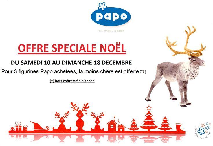 A partir du samedi 10 jusqu'au dimanche 18 décembre inclus, profitez de notre offre de Noël sur les figurines Papo chez Il était une fois ! Pour 3 figurines achetées, la moins chère est offerte ! ;)