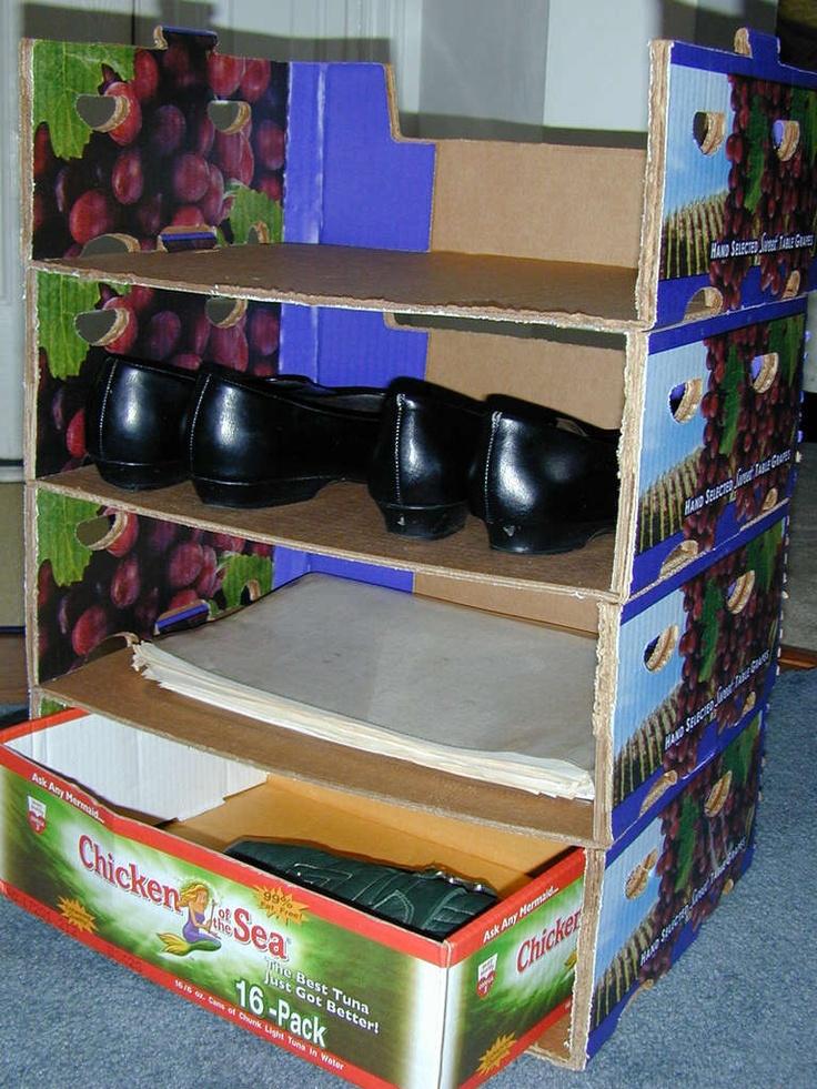 100 best images about cardboard on pinterest diy cardboard cardboard organizer and shelves - Shoe box storage shelves ...