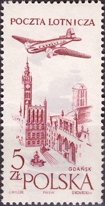 Znaczek: Town hall in Gdansk (Polska) (Poczta lotnicza) Mi:PL 1080,Sn:PL C46,Yt:PL PA46,Pol:PL 935