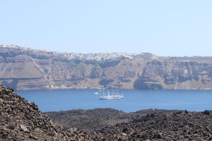 View from volcano. Nea Kameni island (Νέα Καμένη), Santorini https://arturania.com/santorini