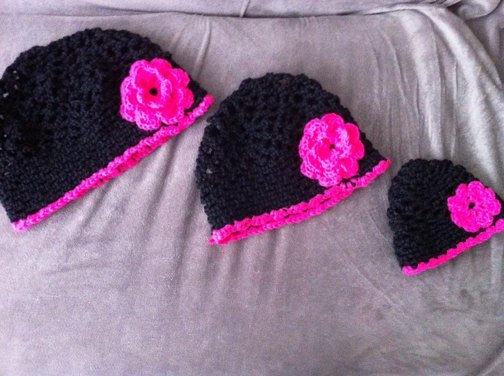 Matching mother/daughter crochet hats with flowers that I made for my cousin