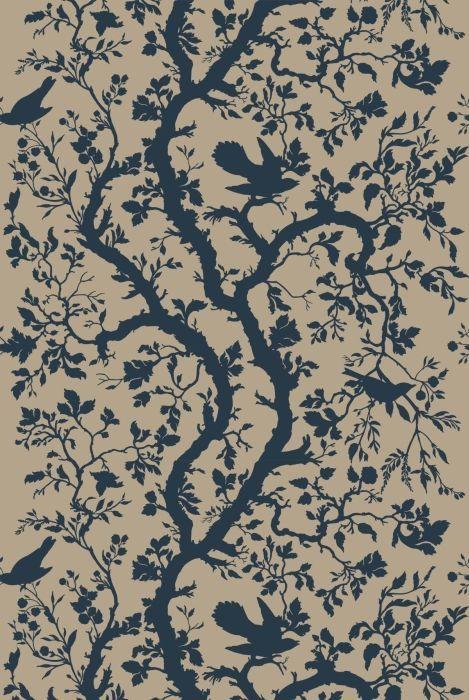 Birdbranch in Navy Blue from Timorous Beasties #linen #fabric
