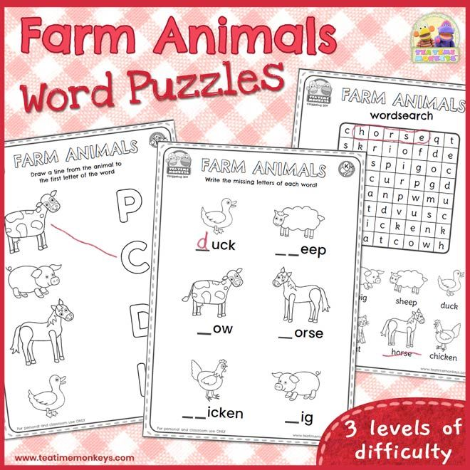 Farm Animals Worksheets and Word Puzzles - Tea Time Monkeys | Kindergarten  worksheets, Kindergarten worksheets printable, Word puzzles