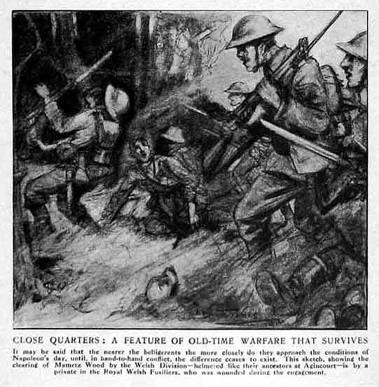 A sketch of the 38th (Welsh) Division Attack on Mametz Wood by Pte David Jones.