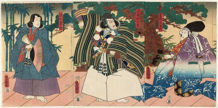 Utagawa Kunisada: Actors Ichikawa Danjûrô VIII as Togashi Saemon (R), Ichikawa Ebizô V as Musashibô Benkei (C), and Ichikawa Saruzô I as Minamoto no Yoshitsune (L) - Museum of Fine Arts