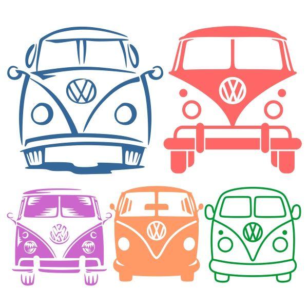 VW Volkswagen Bus Van Cuttable Design Cut File. Vector, Clipart, Digital…