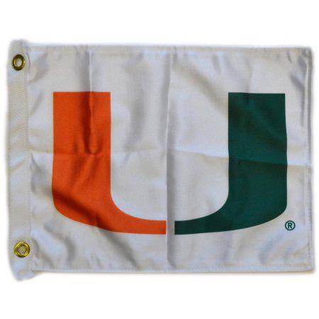 Flagpole To Go 14 inch x 15 inch U of Miami Fl Golf Cart Flag, White
