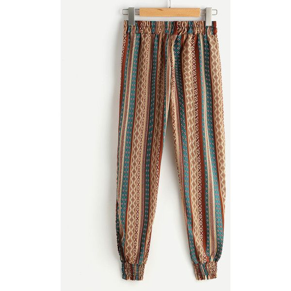 Aztec Print Drawstring Waist Harem Pants ($13) ❤ liked on Polyvore featuring pants, aztec print harem pants, harem pants, harem trousers, aztec-print pants and white pants