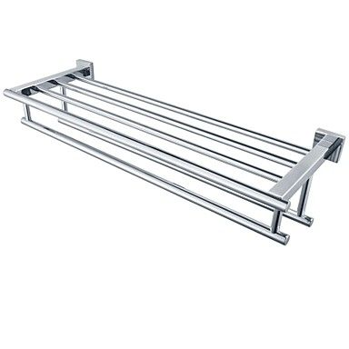 Minimalist Mirror Polishing Stainless Steel Shelf with Towel Rack Towel Rack with Two Towel Bars, A2112 – AUD $ 88.65