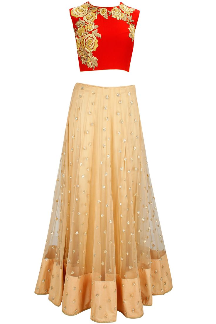 Red and gold rose embroidered lehenga set available only at Pernia's Pop-Up Shop.