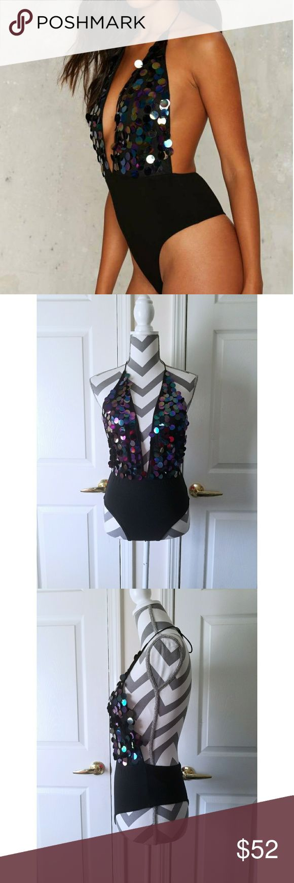 🎉HP🎉 Motel Ariel Sequin Bodysuit - Iridescent disc sequins  - Adjustable tie strap - Halter Design - Content: 100% Poly. - Condition: NWT  - QTY: 2 available   🎉 WEEKEND WANDERLUST PARTY HP 3/12/17 🎉  Don't like the price? Send me an offer! Offers welcomed through offer button only ☺  NO TRADES! NO 🅿🅿! NO ♏eRc! Motel Rocks Intimates & Sleepwear