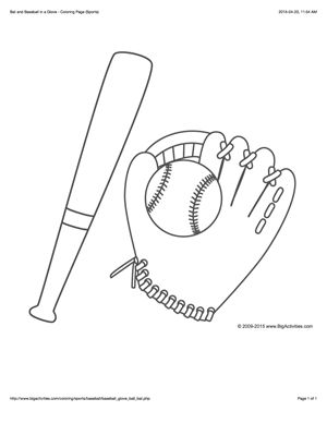 Sports coloring page with a picture of a baseball bat, ball, and glove to color