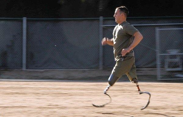 Marine Staff Sgt. Mark Zambon runs on carbon fiber prosthetics, read the article...you'll be amazed!
