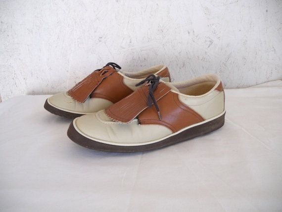 70s Leather Saddle Shoes / Two Tone Brogues