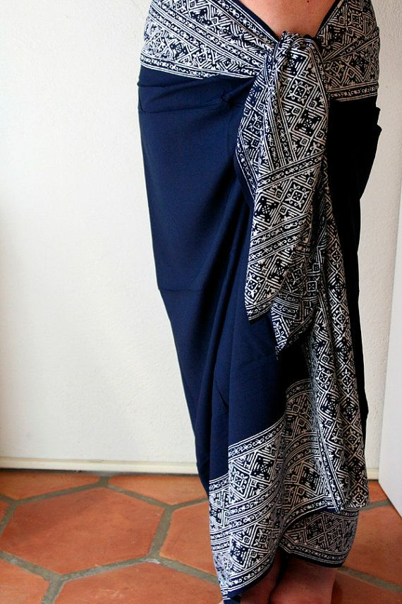 Navy Blue Pareo - Beach Sarong - Batik Sarong - Beach Cover Up Women's Clothing Wrap Skirt - Celtic Cross Motif Blue Sarong Summer Swimwear