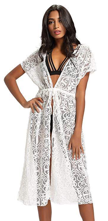 f720a6285945d Costyleen Summer Womens Beach Wear Cover up Swimwear Bikini Lace Floral  Long Maxi Beach Dress at Amazon Women's Clothing store: