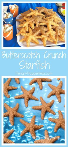 Sweet little Butterscotch Crunch Starfish make wonderful treats for your beach party or pool party.