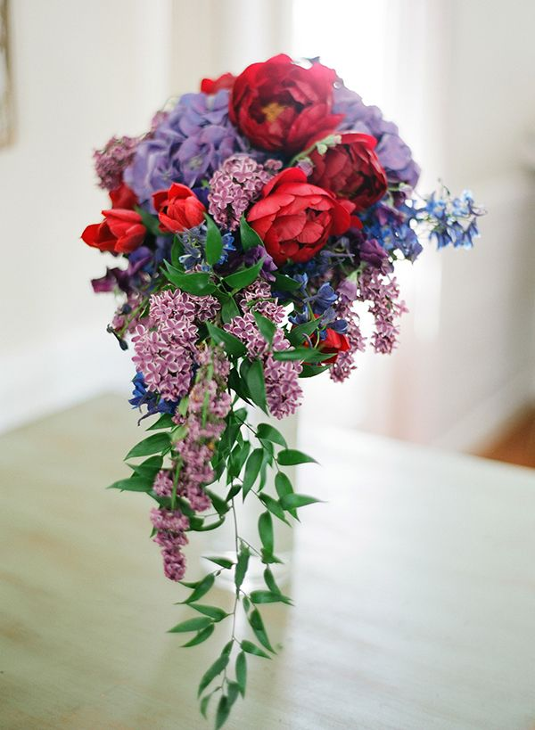 Cascading Purple and Red Bridal Bouquet | photography by http://bretcole.com