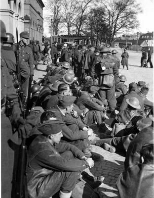 British prisoners gathered in the town of Tromsø in Northern Norway in May 1940.
