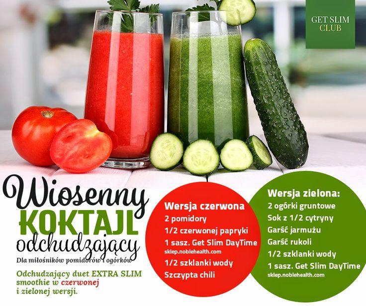 Zielone koktajle: ogórek + cytryna + jarmuż + rukola ORAZ pomidor + papryka + chilli
