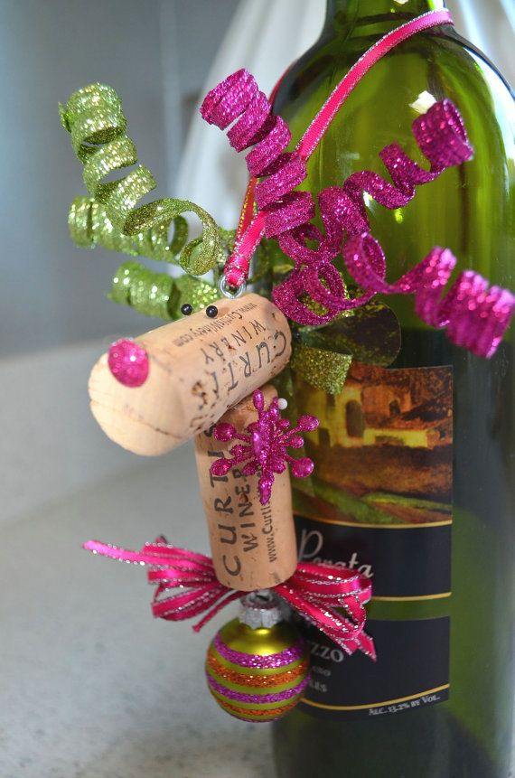 Wine Bottle Ornaments - an awesome idea to spruce up a wine bottle gift!