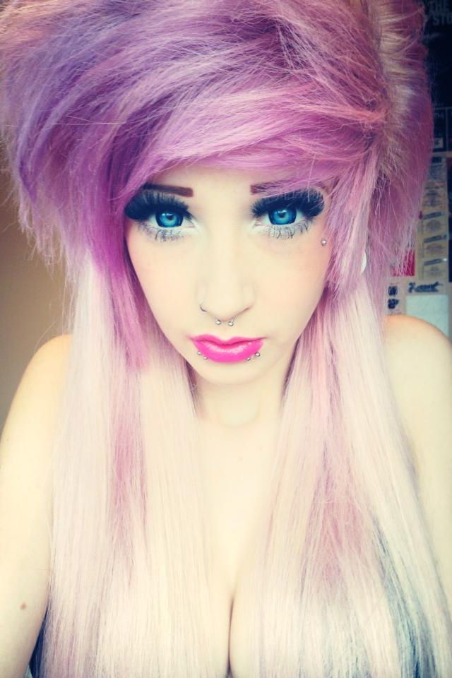 pastel pink hair purple