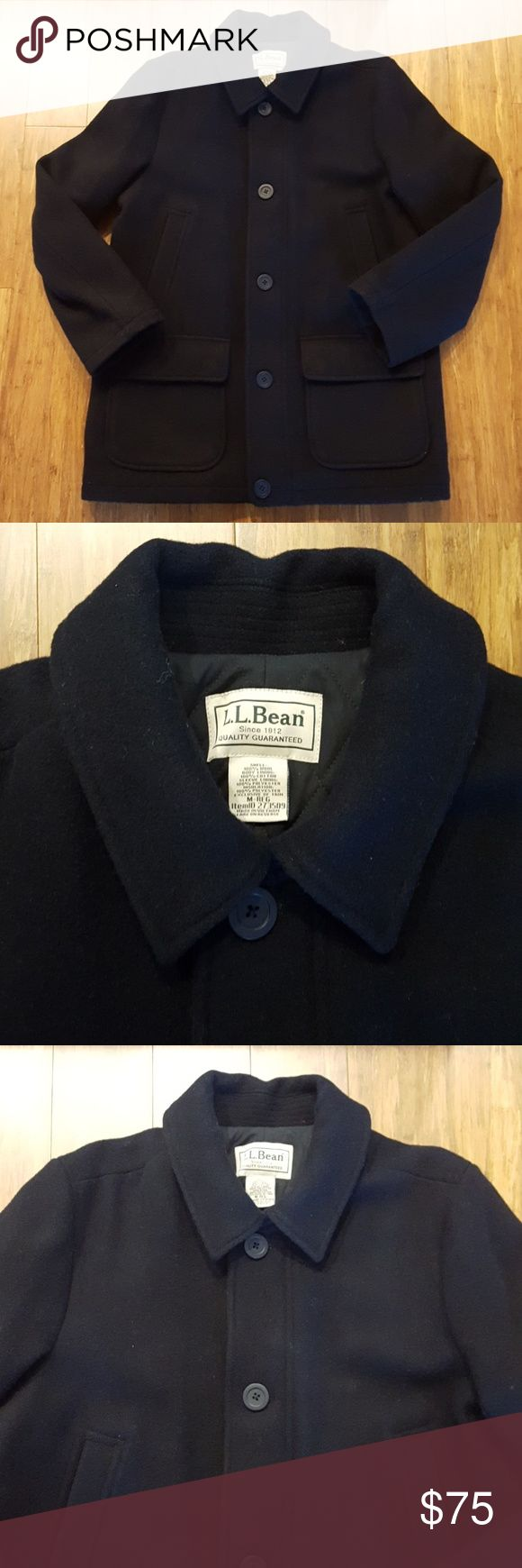LL Bean men's wool coat GUC LL Bean men's wool coat. Zip and button closure. Two front hand pockets. Mild general wear, still good color and functional. Size medium. Measures approx 24.75 inches armpit to armpit, 33.5 top of shoulder to hem, 18.5 across shoulders, 26 top to bottom of sleeve. Exterior is 100% wool. Has Thinsulate insulation under. No trades or lowball offers pls. L.L. Bean Jackets & Coats Pea Coats
