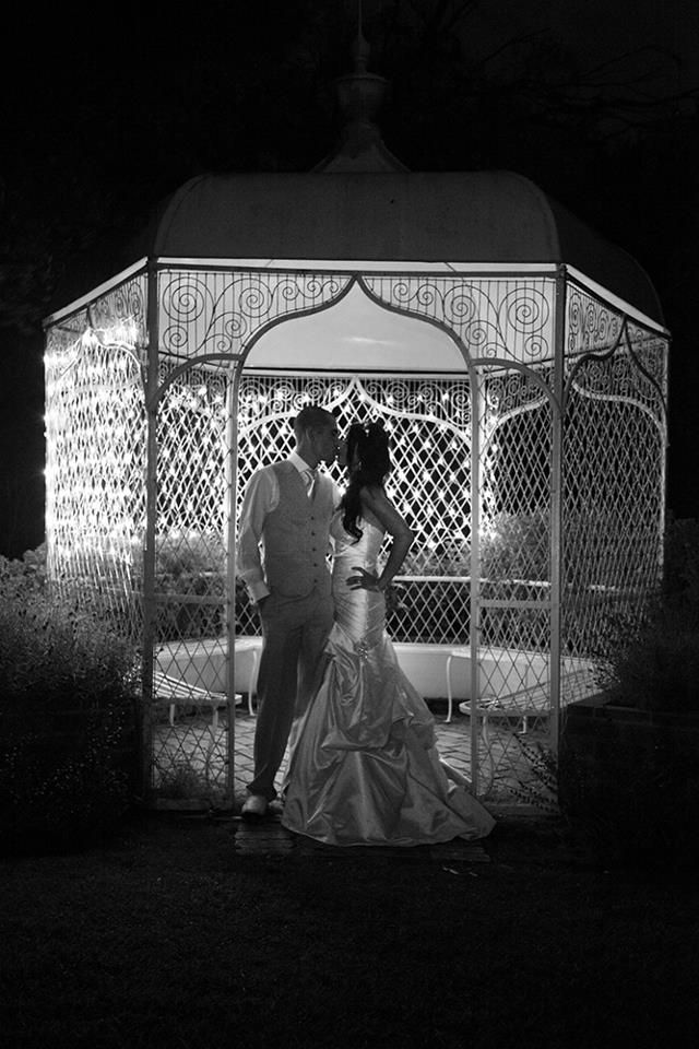 Wrought Iron Gazebo with fairy lights