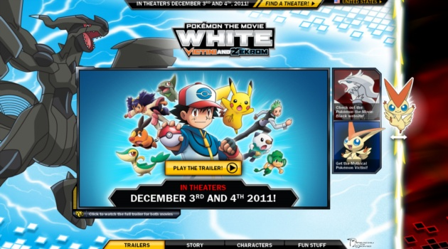 The folks at Pokémon wanted to do something distinctive to showcase their two new films based off of the most recent generation, Black and White. With the huge popularity of the cards and video game (which has become the fastest selling DS game to date) we were challenged to create something really cool to support the highly-anticipated and unique movie release. The two plot-lines run parallel to each other with one movie being released in limited theaters across the US and the other…