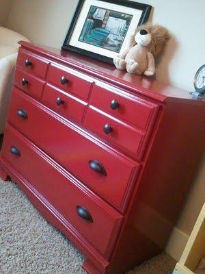 Fire engine red dresser for nursery. Got the dresser just gotta find the right shade of red!