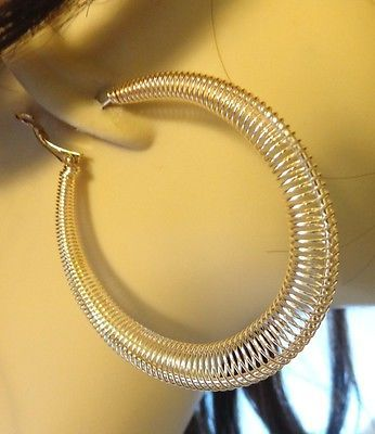 SPRING COIL HOOP EARRINGS LIGHTWEIGHT GOLD OR SILVER TONE 2.25 INCH HOOPS
