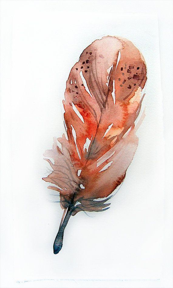 Feather Painting Watercolors Painting Original Art Aquarell