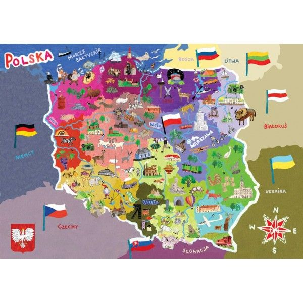Map of Poland for kids