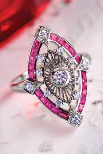 An Art Deco ruby, diamond, and platinum ring.