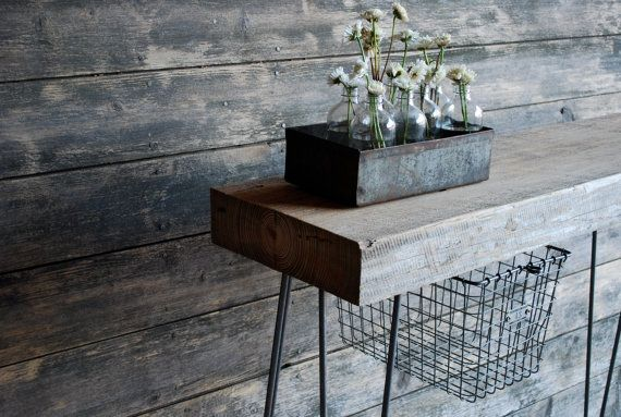 "4 ft Industrial Console table with 2.5"" thick reclaimed wood top, hairpin legs, locker basket."