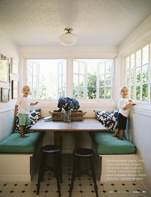 booth seating, open windows, painted tin ceiling. OH my goodness can I add this to my kitchen??