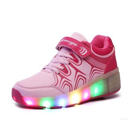 Rosa Schuhe Mit Rollen LED Für Damen