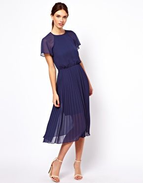 Warehouse Tie Pleated Back Dress