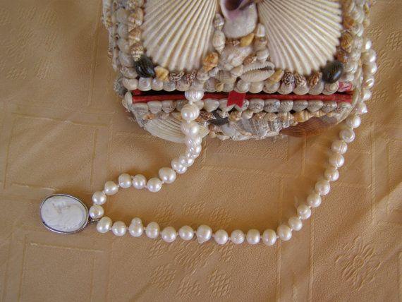 Ivory fresh water pearls necklace/wedding ivory fresh by Mpoulitsa