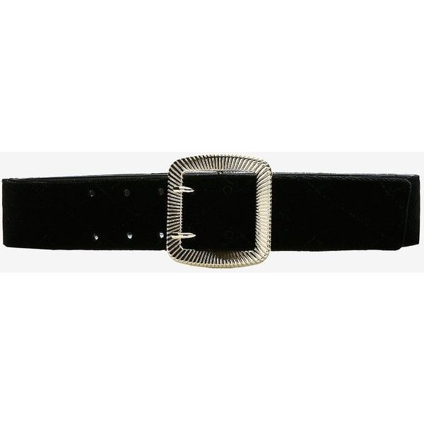 Express Velvet Belt (125 PLN) ❤ liked on Polyvore featuring accessories, belts, black, velvet belt, buckle belt, express belts and gold buckle belt