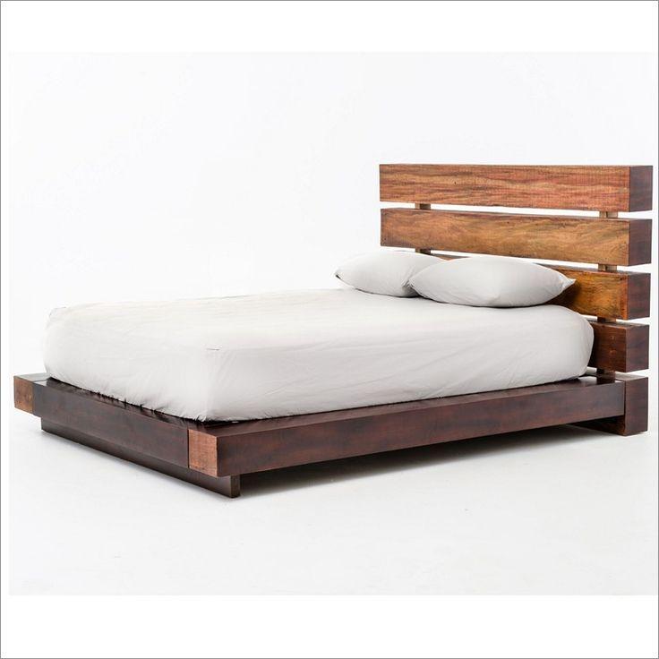 bina iggy rustic modern wood bed in walnut by four hands vbnabd626