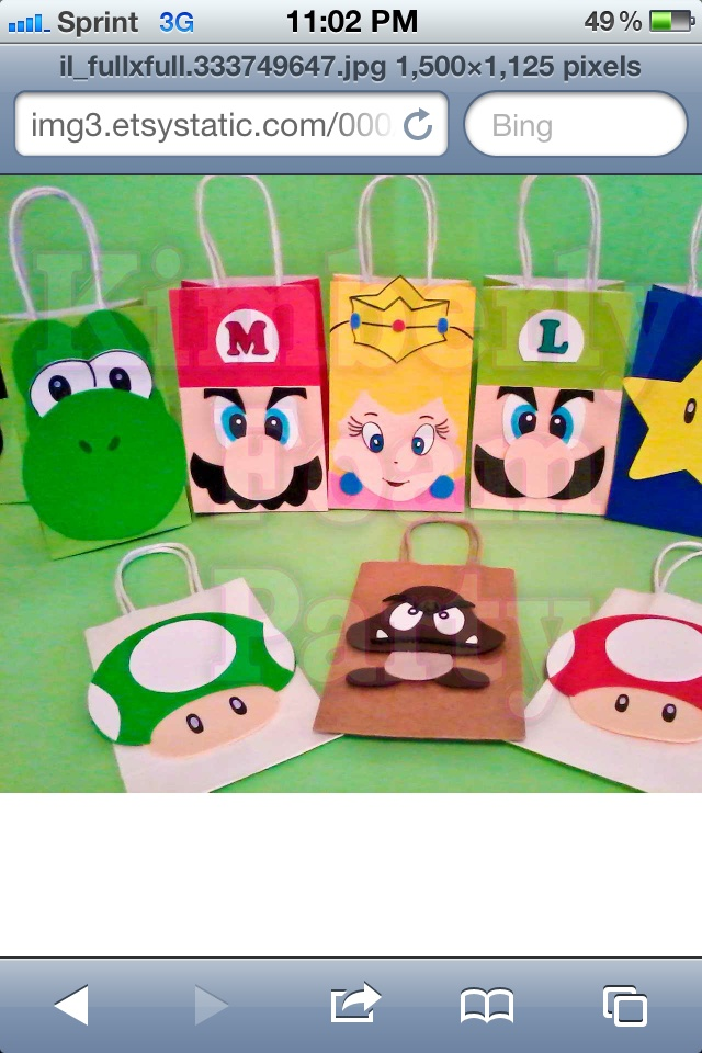 Party bags that are Mario brother themed! I wish I could find someone to make me them for my sons bday party. I just found a pic online -_-