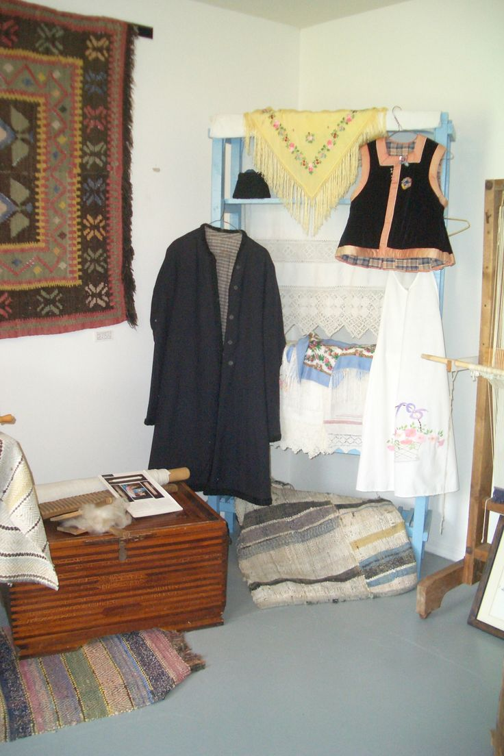Heritage textiles display room at the Doukhobor Discovery Centre.